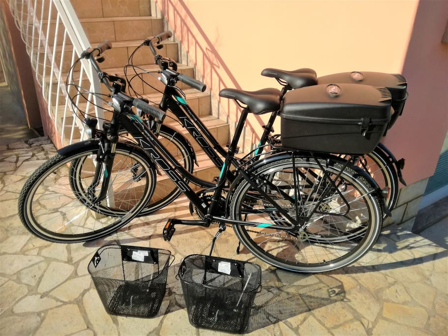 During your stay with no extra cost, you get to use 2 high quality bicycles (Kross Trans 2.0, Model 2018.), with the following acessories: 2x Storage Box with keys, 2x 4 digit locks to secure your bikes, 2 front mounting baskets, 2 small air pumps.