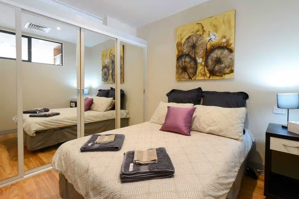 Guest bedroom with different bedding