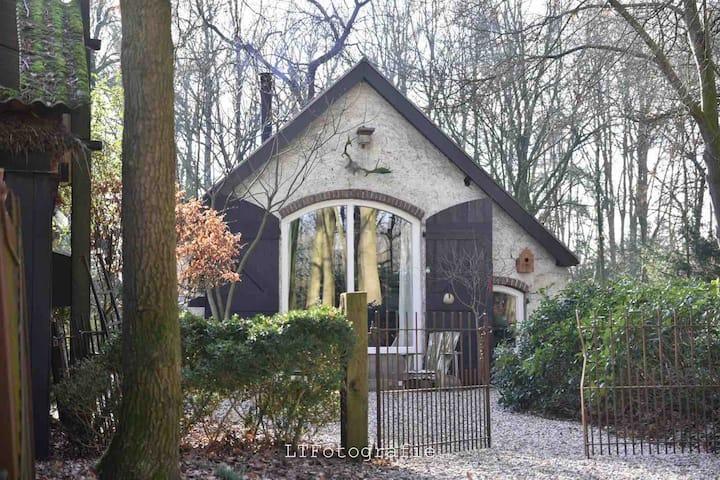 Voorthuizen, huisje in het bos met houtkachel