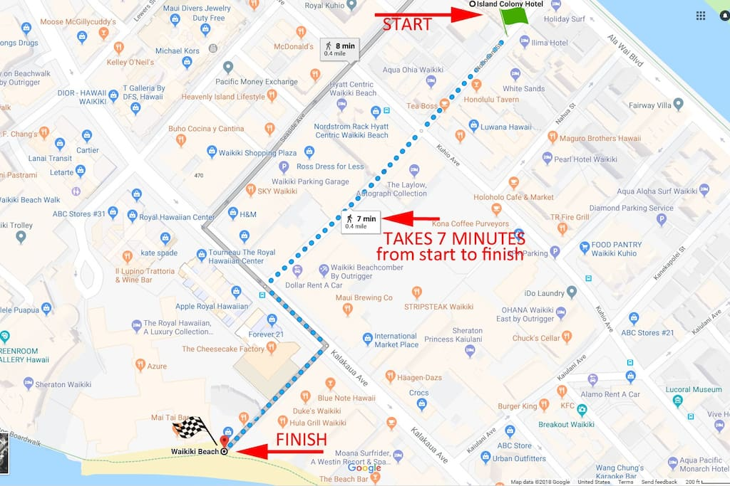 Its a 7 minute walk to the center of Waikiki Beach