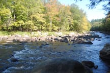 The AuSable River. A one minute walk from the cabin.