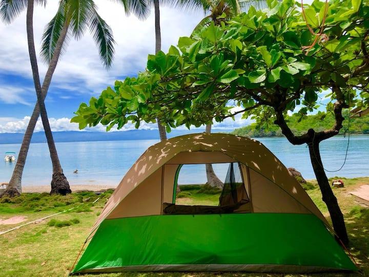 Beachfront camping tent in a bioluminescent island