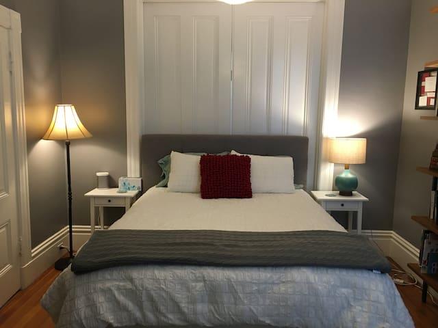 Grey Bedroom: super comfortable queen bed