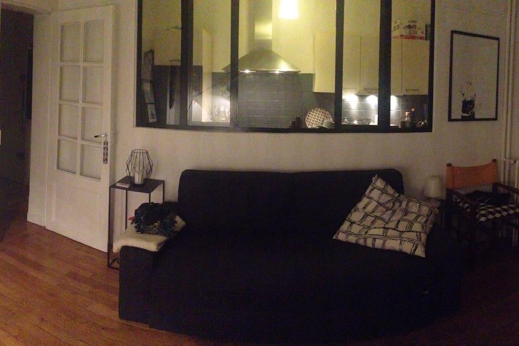 Salon + canapé amovible 2 places