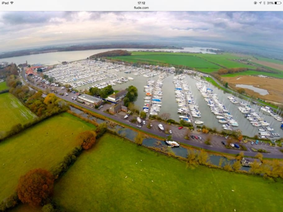 The Chichester Marina is right at the end of the garden!