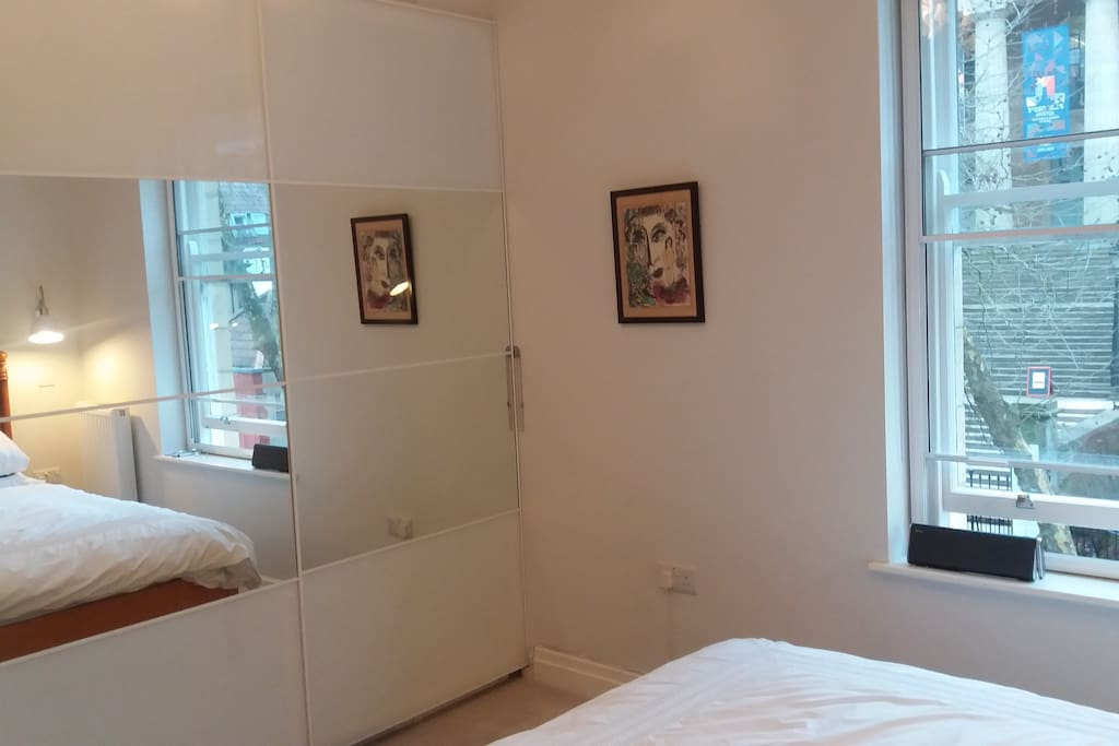 double bedroom with views of St George's the best concert hall in Bristol