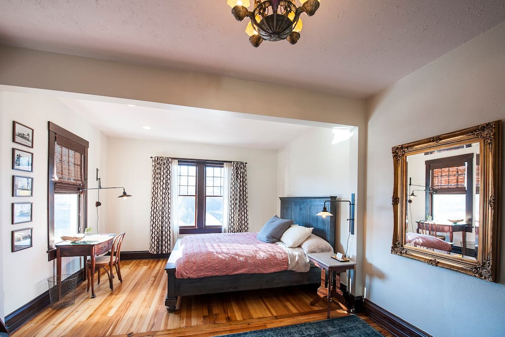 Cozy designer room with King sized bed overlooks downtown Marshall and the French Broad River