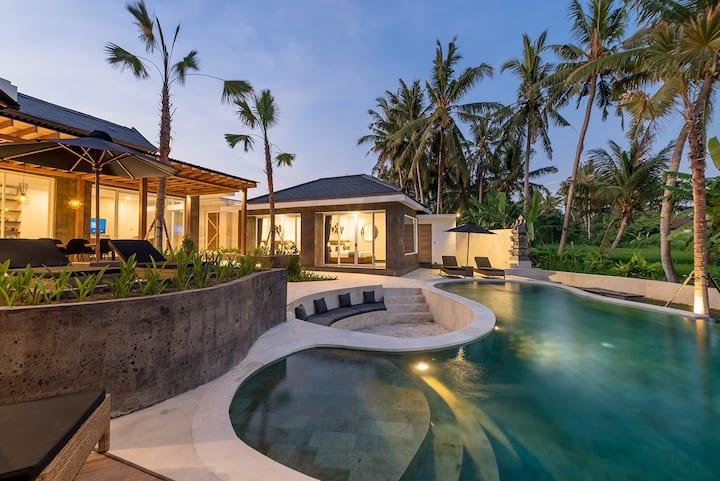 Elegant & luxurious 3 bed villa rice fields views