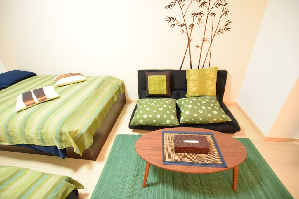 Semi double sofa bed and table