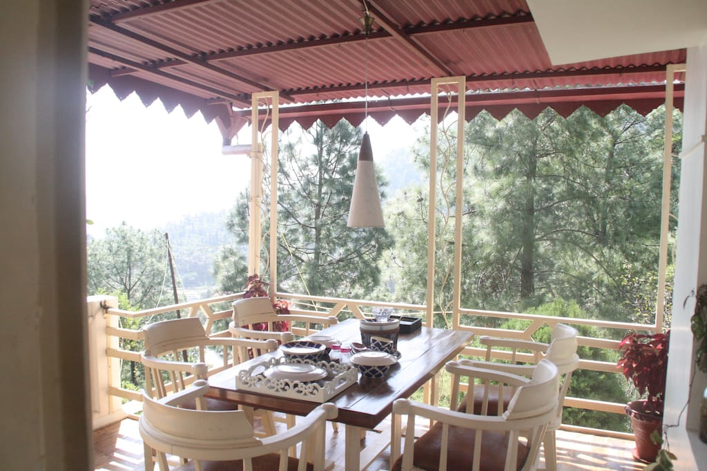 lunch on the terrace served from the adjoining kitchen with a view which is straight out of the movie