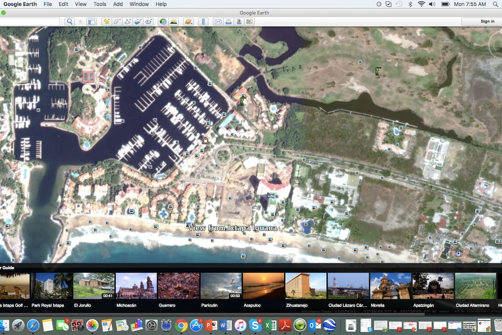 "Satellite view of the condo complex. It is the large horseshoe shaped complex with ""Ixtapa Iguana"" at the bottom"