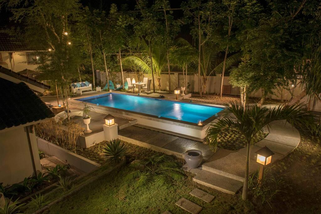 Swimming Pool at night time.