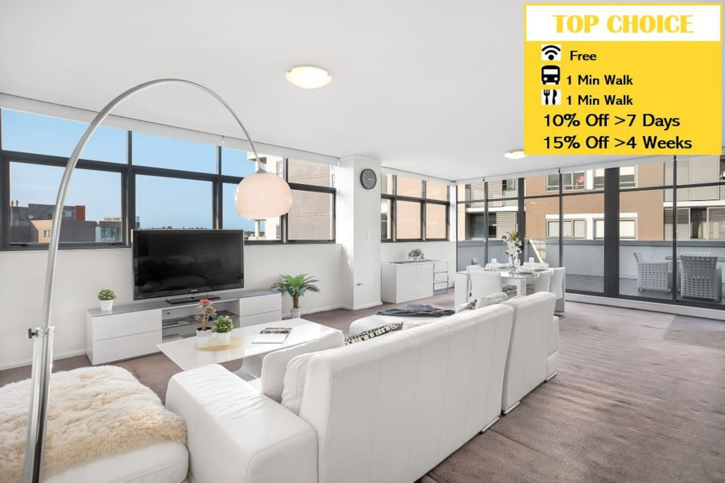 Oversize Living and Dining area with North and East aspects