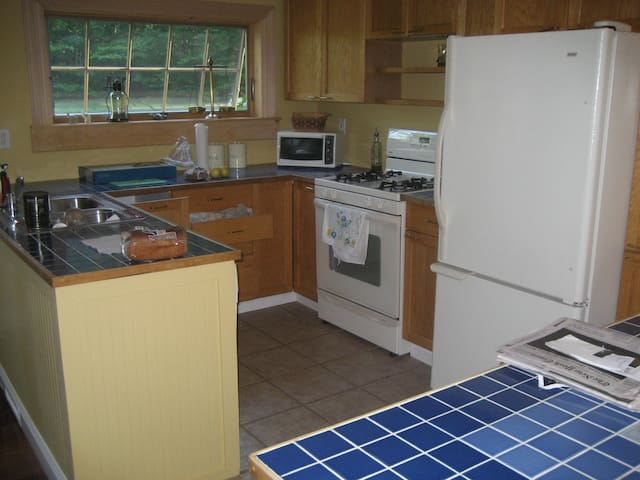 Fully equipped spacious kitchen with a view!