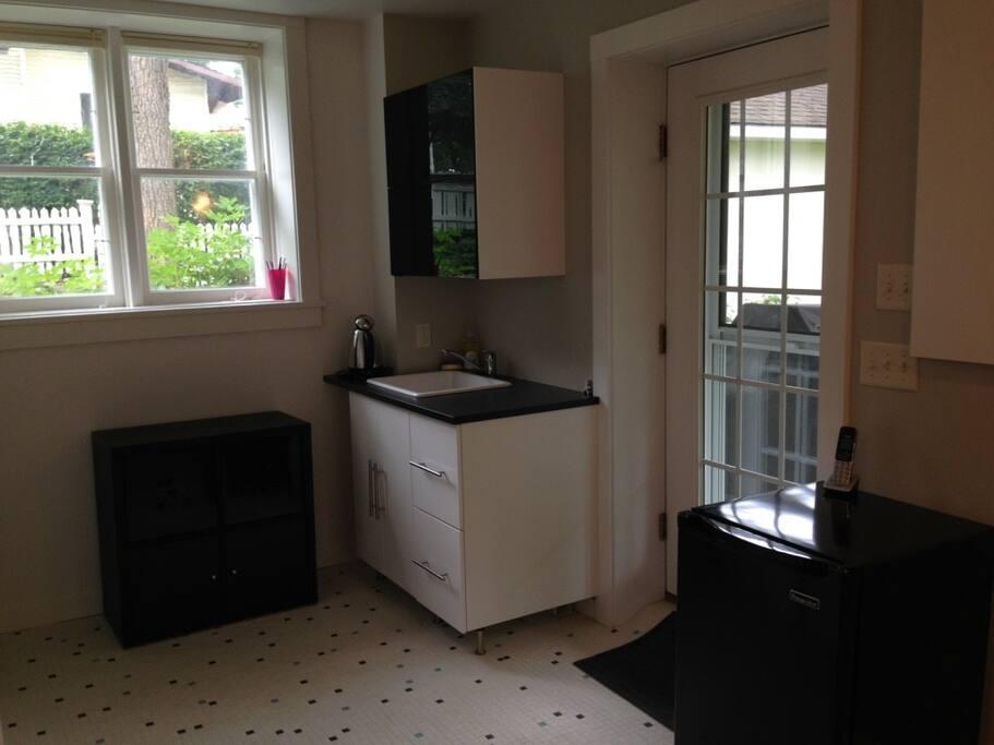 Kitchen nook (microwave and fridge)