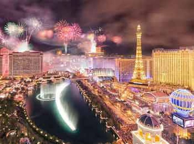 A local surrealist painter has captured the awesome scene from the closed roof of my building: the Bellagio lake and fountains, sweeping out toward the Caesars' Palace and other resort-casinos. *This is not a view from your room.*