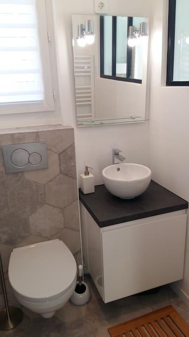 Salle d'eau (douche, WC suspendu, lavabo, serviettes et tapis fournis). La verrière donne sur le salon, un store permet de cacher si besoin.