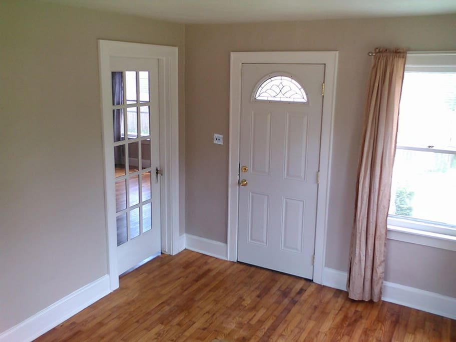 Keyless entry at the front door, semi-private space with futon.