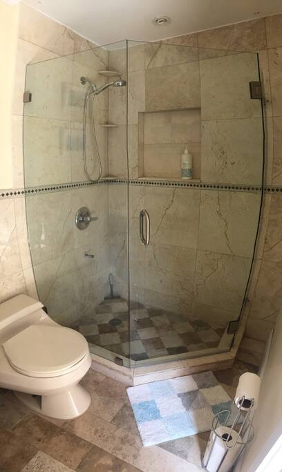 Guest bathroom with custom marble and glass shower