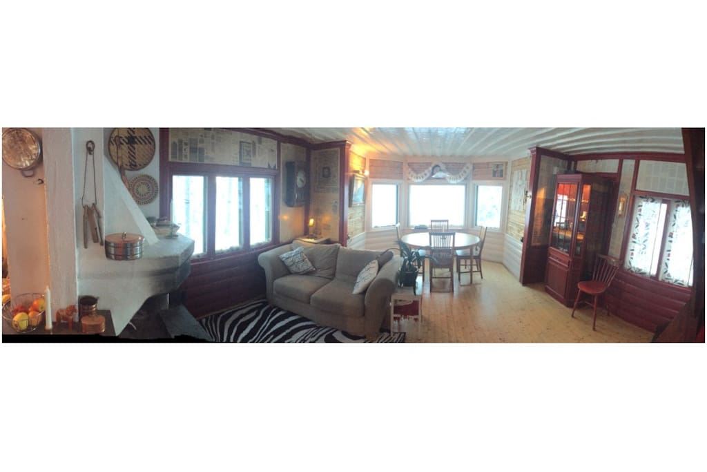 Panorama of inside of living room.