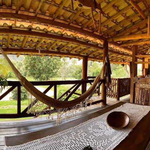 Casa rustica, linda piscinnatural com cascata