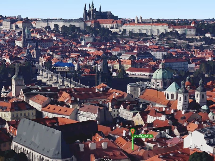 Location of the Herberghaus relative to Charles Bridge and the Prague Castle