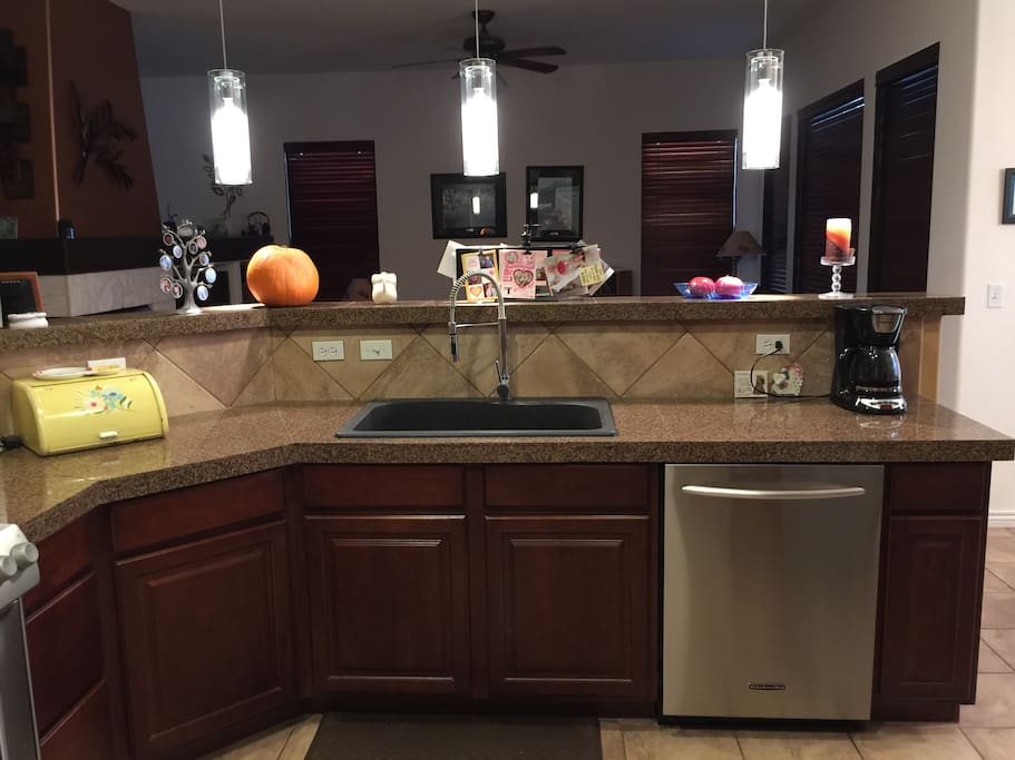 Kitchen with Deep Sink and Granite Countertop
