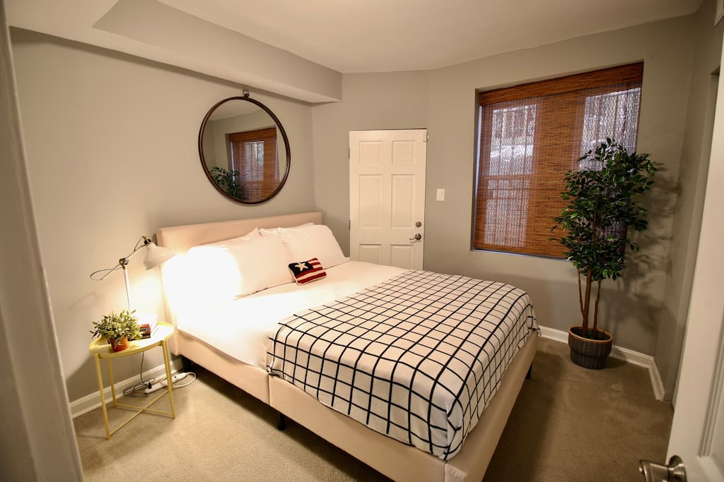 Rest peacefully in a queen sized bedroom with adjacent laundry area (washer & dryer)