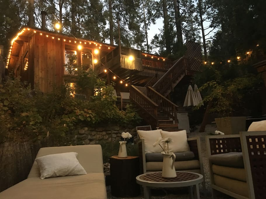 Romantic, chic, cozy, two story home overlooking the creek in lush forest, in secluded setting.