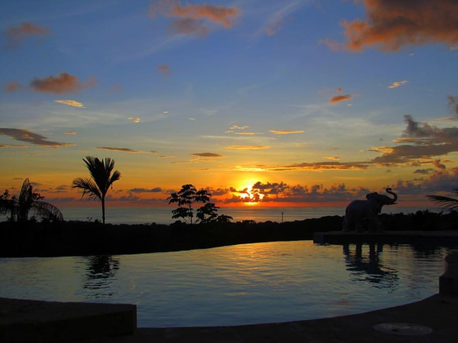 Enjoy sunsets from the pool