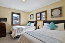 Imagine mountain trail views from bed! One of our 2 double rooms.