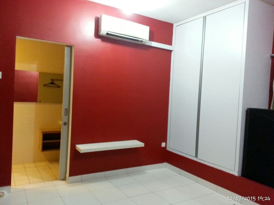 Bed Room, upstairs - air-conditioned, with Wardrobe & entrance to Shower/Rest Room (Rest Room 2)