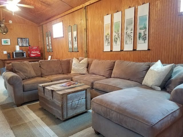 Large Living Area with refrigerator, microwave, coffee maker