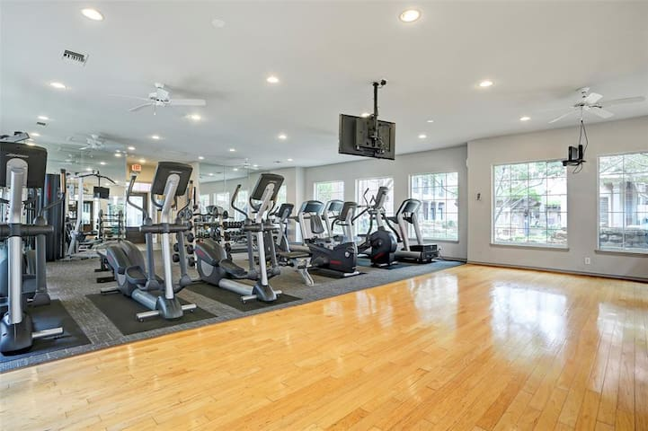 Fitness center with all the basic weights and cardio machines.