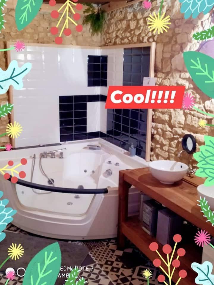 Chambre 4 pers TV et balnéo dans gîte. piscine