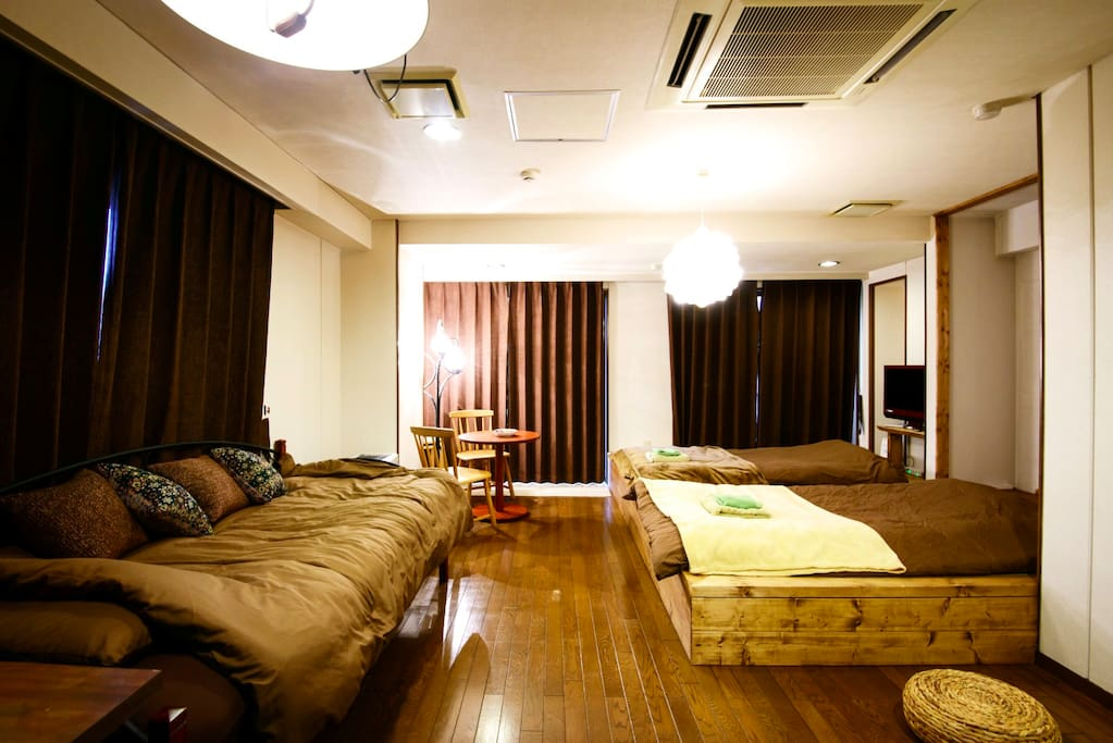 There is one bed with mattress, and Tatami mat space for 3 futons (altogether space for 4 people)