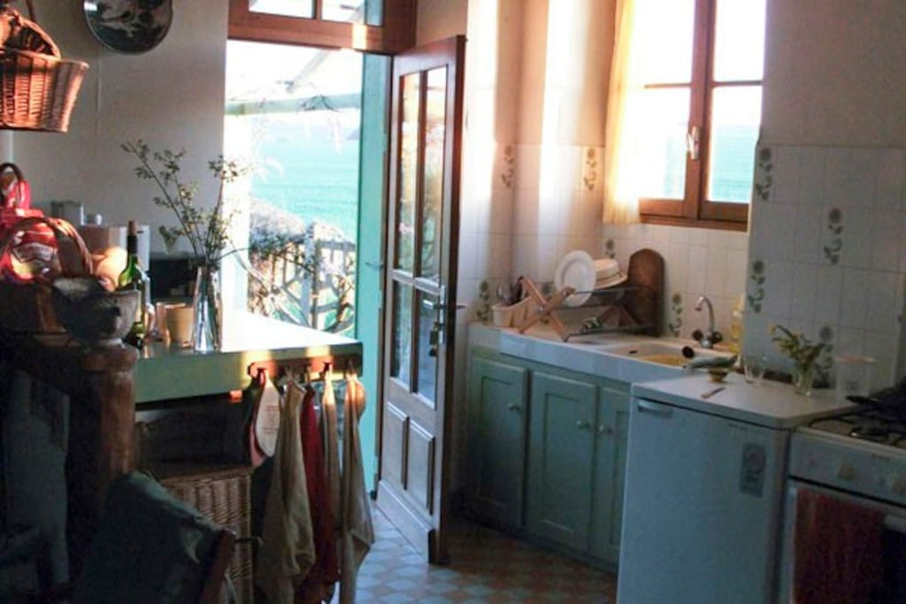 in the kitchen, sun outside