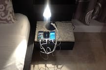 bedside table with multi usb for phones