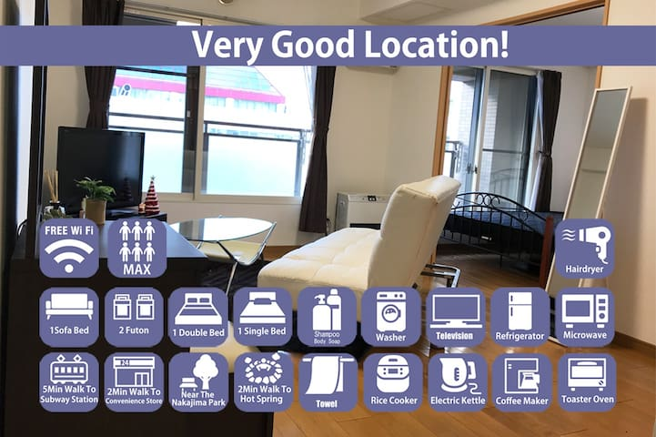 Great Location in center of Susukino!!!Free WiFi