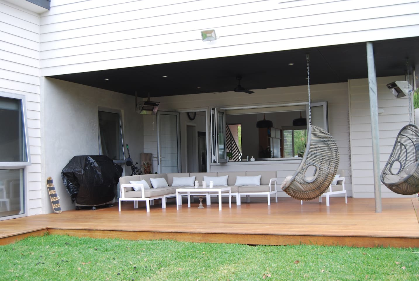 Spend all your time on the large, covered verandah