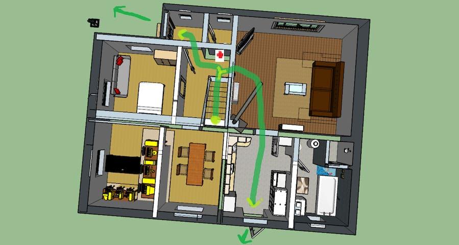 Evacuation plan upstairs / Evakuierungsplan Obergeschoss