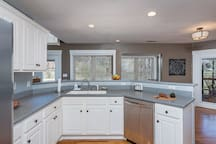 Kitchen with ample storage and counter space.