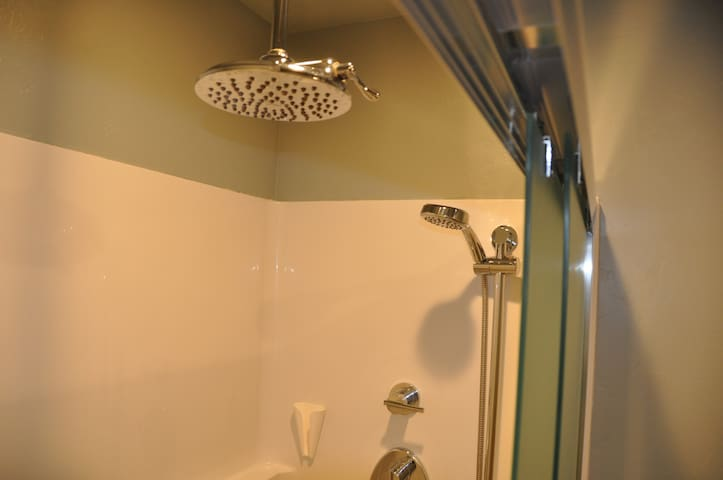 Walk-in shower features glass doors, overhead rain shower, and hand shower.
