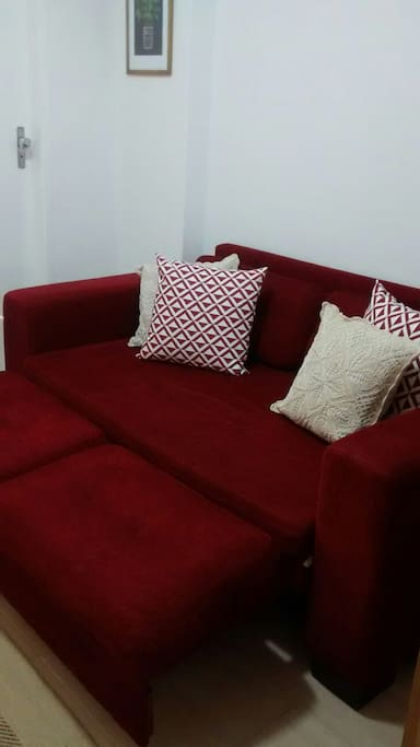 The sofa also works as a chaise to watch TV, read, work on laptops, whatever...