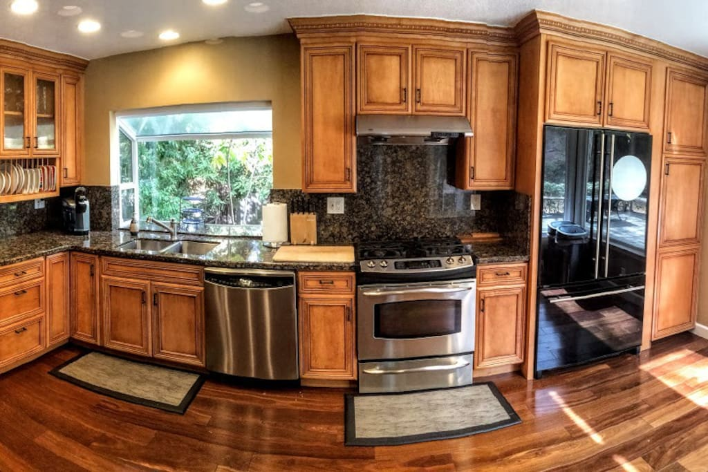 Gourmet kitchen with gas stove.