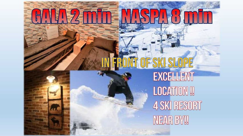 FJ25 門一踏出去就是滑雪場!走路就到JR新幹線!滑雪勝地舒適小屋!Y10巴士站1分鐘!wifi!