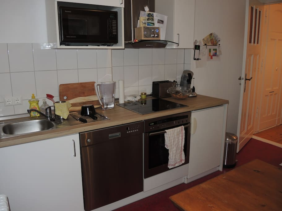 The kitchen with oven, cooker and dishwasher