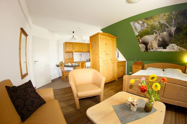 Landhotel Jagdschloss (Windelsbach), Zimmer 21 - Steinbock mit freiem Blick auf Wald, Feld und Wiesen