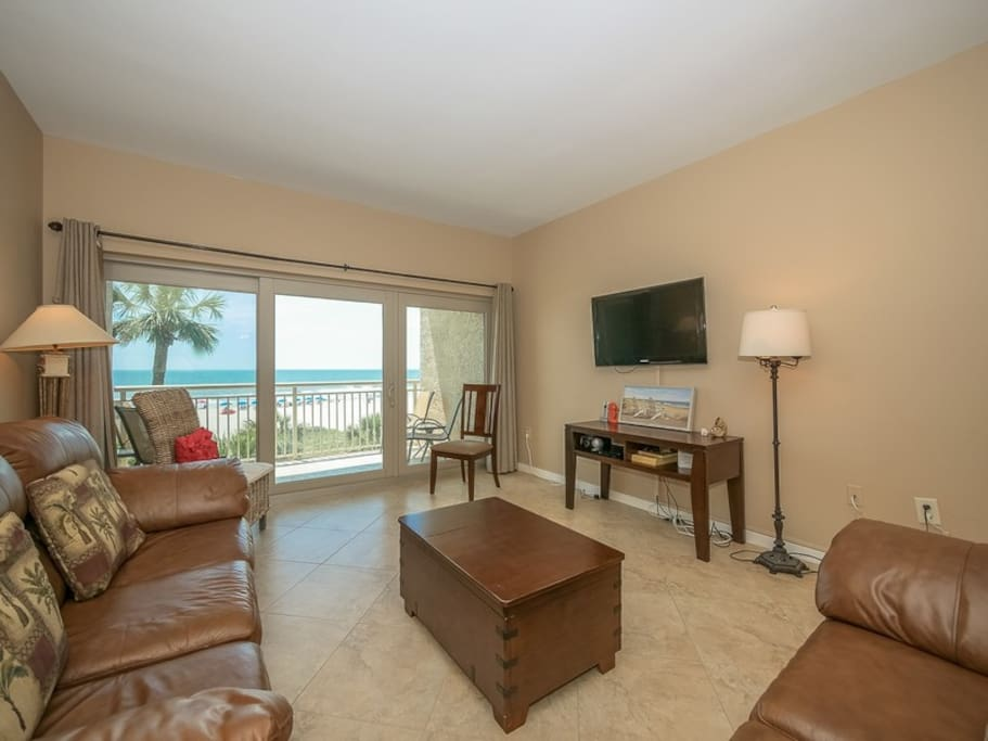 Living Area with Flat Screen TV at 415 Captains Walk