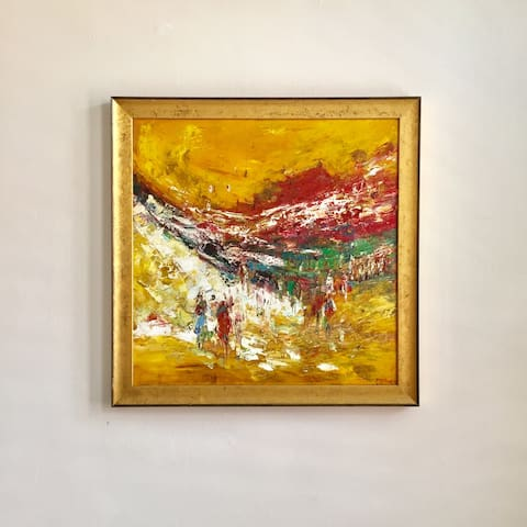 Enjoy this piece of modern abstract art which was specially sourced for this room.